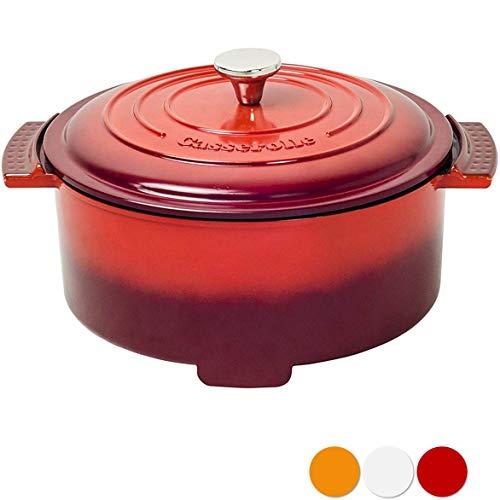 [山善]グリル鍋 800W 容量2.8L (直径23 深さ6.8cm) 「Casserolle(キャセロール)」 YGC-800-E(R) レッド [メーカー保証1年]
