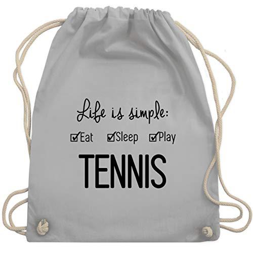 Shirtracer Tennis - Life is simple Tennis - Unisize - Hellgrau - turnbeutel tennis - WM110 - Turnbeutel und Stoffbeutel aus Baumwolle