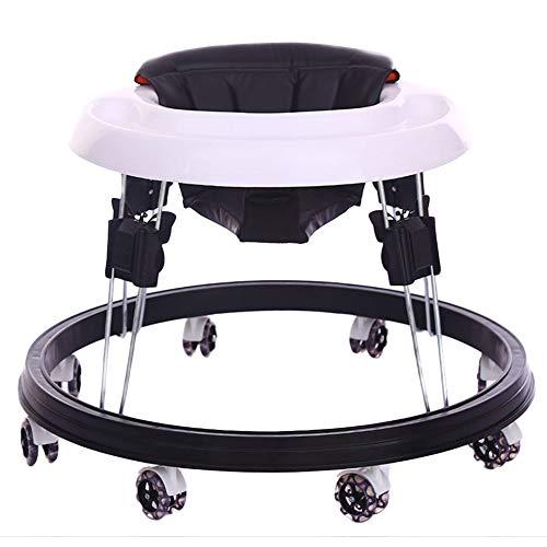Andador para Bebés con 4 Frenos Anti-Vuelco Ajustable con Cinturón De Seguridad Andador Plegable Bebe,Negro,B
