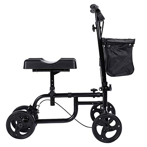 Andador de rodilla, freno de mano ajustable negro Andador de rodilla oldable de alta calidad, uso al aire libre para discapacitados para uso en interiores