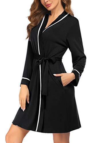 Ekouaer Women's Cotton Short Robes Lightweight Soft Sexy Silk Night Robes Hotel Sleepwear Loungewear (Black XL)