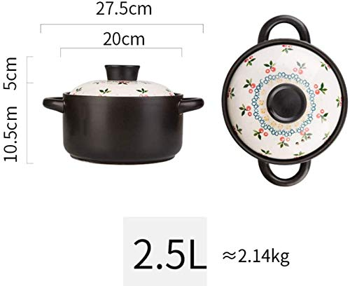 YFMMM Enameled Cast Iron Dutch Oven, 2.5L with Lid Pre-Seasoned Pot Round Non-Stick for Cooking/Basting or Baking, 2.6-Quart,Black