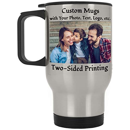 Personalized Travel Mugs Custom Travel Tumbler with Photo Picture Logo Text 14 OZ Photo Coffee Mug Tea Cup for Mom Dad Family Friends Gift for...