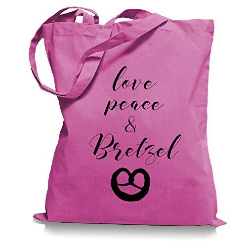 Ma2ca Love Peace und Bretzel Brezel Tragetasche/Bag/Jutebeutel WM1-fuchsia