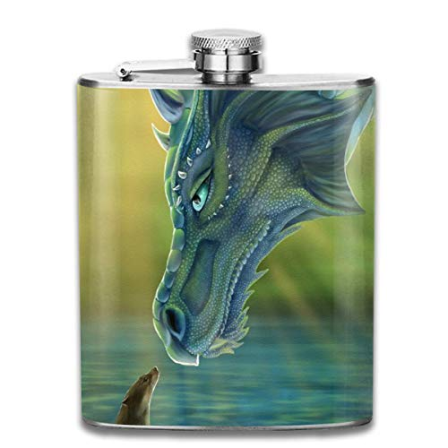FGRYGF Pocket Container for Drinking Liquor, Stainless Steel Leak-Proof Hip Flask Dragon Sea Flagon Whiskey Container Flask Pocket for Unisex