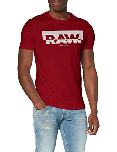 G-STAR RAW Raw Graphic Slim Camiseta, Rojo seco 336-5298, Small para Hombre