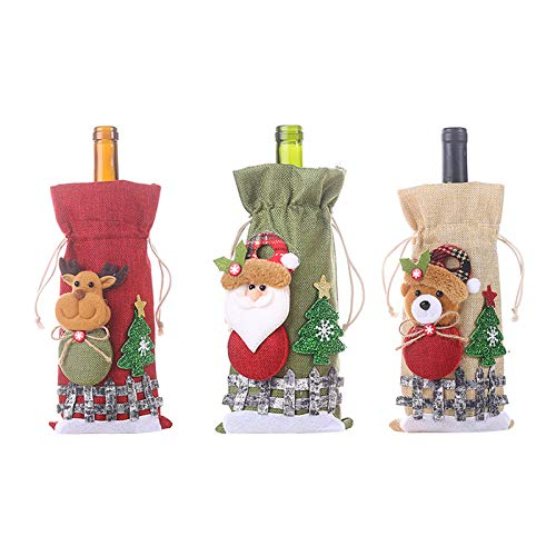 Christmas Ornaments Wine Bottle Set Plaid Linen Bottle Decorated Champagne Bag, Decoration & Hangs, Home Products for Christmas Day (Multicolor)
