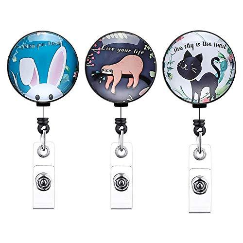 Artscope Schlüssel JoJo Ausziehbar Ausweis JoJo Schlüsselanhänger für Krankenschwester Lehrer Student, ID Name Badge Holder mit Gürtelclip für Kartenhalter Ausweishüllen (3 Stk - Süßes Tier)