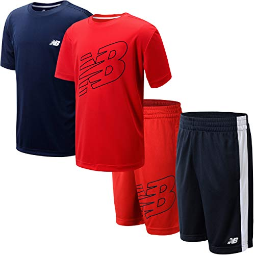 New Balance Boys' Shorts Set - 4 Piece Short Sleeve T-Shirt and Gym Shorts Activewear Set (Little Boy/Big Boy), Size 14/16, Red Eclipse