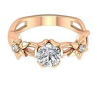 0.86 Ct 認定モアッサナイトソリティアリングクラシックレディースフローラルリング DE-VS1 カラークラリティ宝石ブライダル結婚指輪ステートメントスパイラルシャンクリング, 14K ローズゴールド, Size: 18