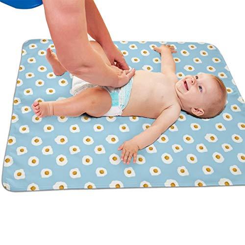 Eieren Ontbijt Voedsel Licht Blauw Gewatteerde Dikker Langer Waterdicht Veranderende Pad Liners voor Baby's 31.5 X 25.5 inch