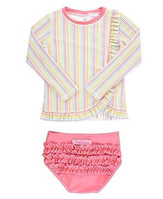RuffleButts Girls Rainbow Stripe Ruffle Long Sleeve Rash Guard Bikini - 8
