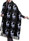 Tengyuntong Bufanda de mantón Mujer Chales para, Bufanda geométrica de reno navideño para mujer, gran suave, sedoso, pashmina, cachemir, chal, abrigo