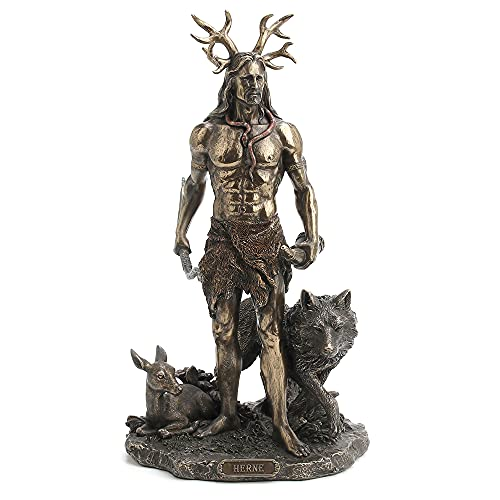 Veronese Design 11 3/4 Inch Tall Herne The Spirit Hunter of Windsor Forest Standing with Deer and Wolf Cold Cast Bronzed Resin Sculpture Celtic Wicca Statue