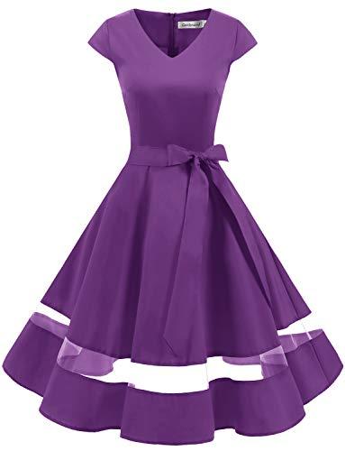 Gardenwed 1950er Vintage Retro Cocktailkleid Cap Sleeves Rockabilly Kleider Damen Schwingen Petticoat Faltenrock Purple-3XL
