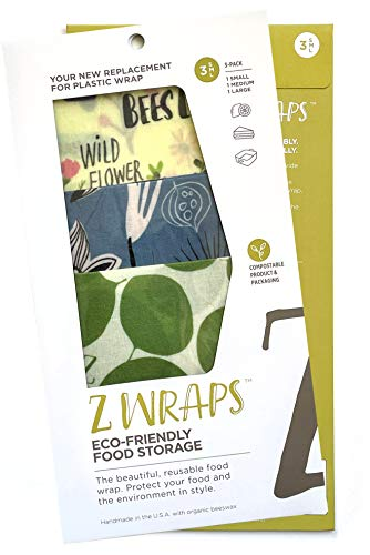 Z Wraps Multi 3-Pack, Reusable Beeswax Food Wrap and Food Storage Saver, Alternative to Plastic Wrap, Sustainable, Eco-Friendly Beeswax Food Wraps - Small, Medium, Large (Leafy/Petals/Bees)