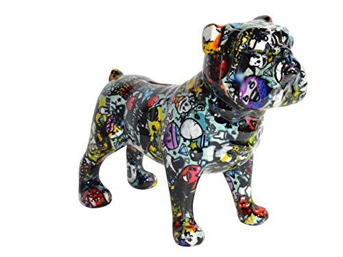 Pomme Pidou XL Spardose ENGL. Bulldogge bunt lila Graffiti Hund Sparbüchse Geldgeschenk