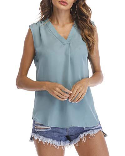 Camisas Mujer Cuello En V Elegantes Gasa Blusas Casual Camisetas Sin Mangas...