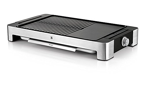 WMF Lono tafelbarbecue plat & geribbeld, elektrische grill met variabele temperatuurinstelling, incl. grilltang, 2300 W