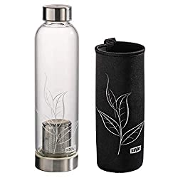 Xavax tea bottle with strainer (glass bottle with neoprene cover, 500ml tea bottle to go, drinking bottle for cold and hot drinks, water bottle for infused water with screw cap made of stainless steel) glass