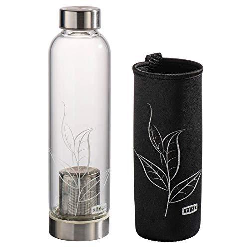 Xavax Gourde en verre (0,5 L, avec passoire et étui en néoprène, en verre avec filtre et manchon isolant, pour le thé, smoothies, boissons chaudes/froides, capuchon à vis étanche) Noir/Transparent