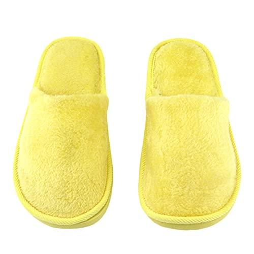 Rendeyuan Plantilla de Goma Transpirable Felpa Interior Casa Casa Mujeres Hombres Inicio Zapatos Antideslizantes Suela Suave Algodón cálido Zapatillas silenciosas para Adultos - Amarillo - 40-41