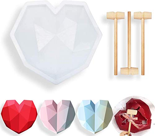 Larcenciel Diamond Heart Shape Silicone Chocolate Mold, Safe and Non-stick with 3 Pieces Mini Wooden Hammers Perfect for Valentine Cake, Wedding Candy, Party Ice Cream Making