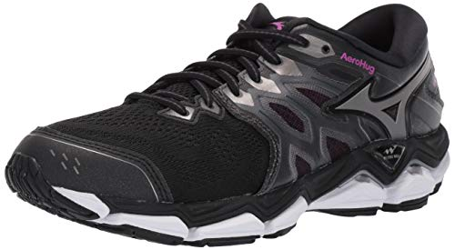 Mizuno Women's Wave Horizon 3 Running Shoe, Black-Metallic Shadow, 8 B US