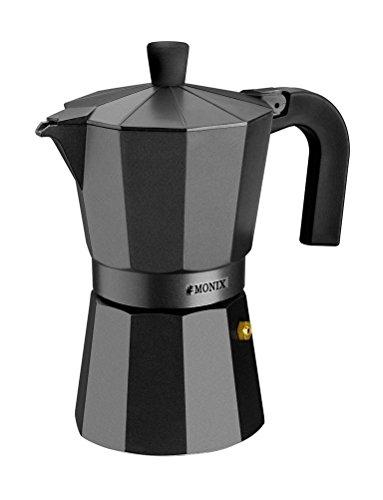 Monix Vitro Noir – Cafetera Italiana de Aluminio, Capacidad 12 Tazas, Apta para Todo Tipo de cocinas Salvo inducción