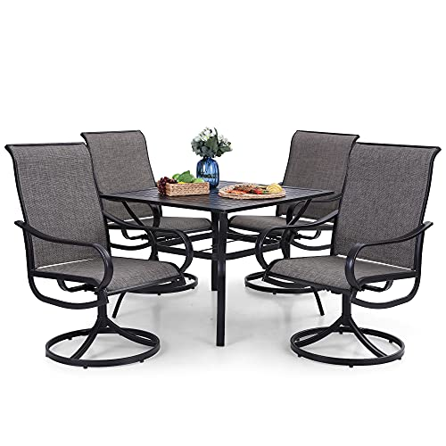 PHI VILLA 5 Piece Patio Dining Set with 4 Swivel Dining Chairs & 1 Square Metal Dining Table with 1.57' Hole, All Weather Patio Dining Furniture for Outdoor Kitchen Lawn & Garden