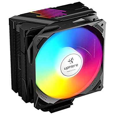 upHere CPU Fan AM4 CPU Cooler with 5 Heatpipes 120mm PWM Rainbow LED Fan, Intel/AMD,N1055CF