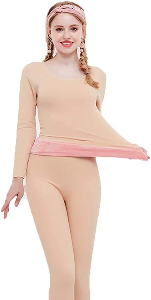 FUNDOW Womens Thermal Underwear Set Lace Scoop Neck Long Johns Breathable Solid Color Pajamas Set