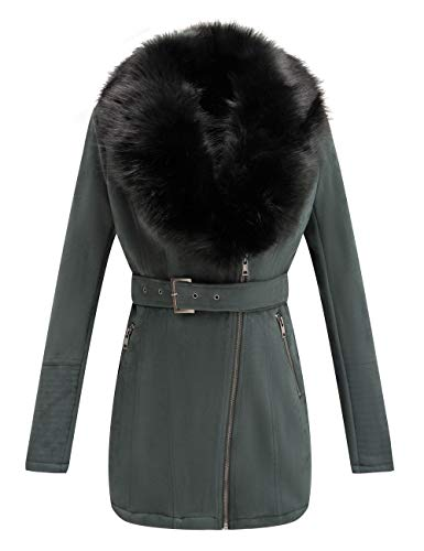 Bellivera Women's Faux Suede Leather Long Jacket, Wonderfully Parka Coat with Detachable Faux Fur Collar 7922 Green S