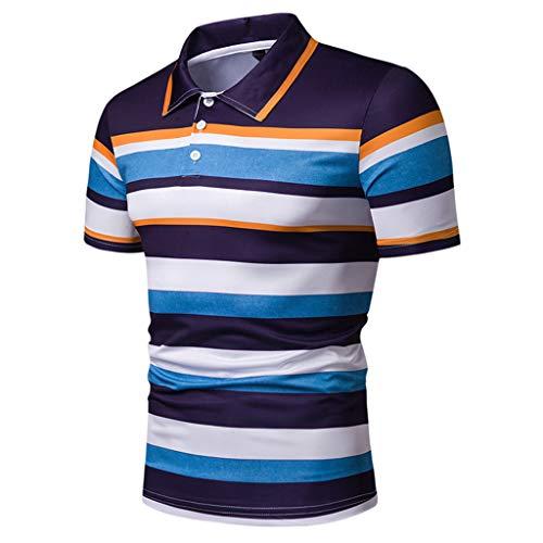 Celucke Polohemd Streifenshirt Poloshirt Gestreift Herren T-Shirt, Kurzarm Poloshirt Männer Basic Polo Hemd Shirt Slim Fit (Blau,XXL)