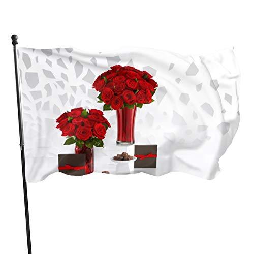 N/A Vlag 3x5 FtRed Rozen Boeketten En Chocolade, Enkelzijdige Tuinvlaggen voor Binnen Buiten Gebruik UV Beschermd