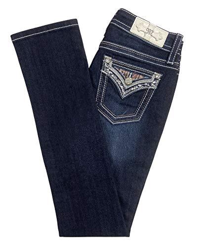 Miss Me Women's Aztec Cactus Straight Jeans Dark Blue 28W x 34L