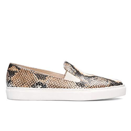 Genia – Beatriz – sneakers slip on comfortabel te dragen voor dames van leer – platte zool dik wit – elastische sluiting – modieus sport casual – dierdruk – python beige
