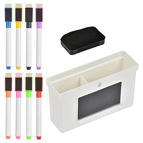 YOTINO Set di pennarelli per Lavagna Bianca 10, Include 8 Pezzi di pennarelli magnetici Colorati con Cappuccio in Gomma + 1 Supporto in