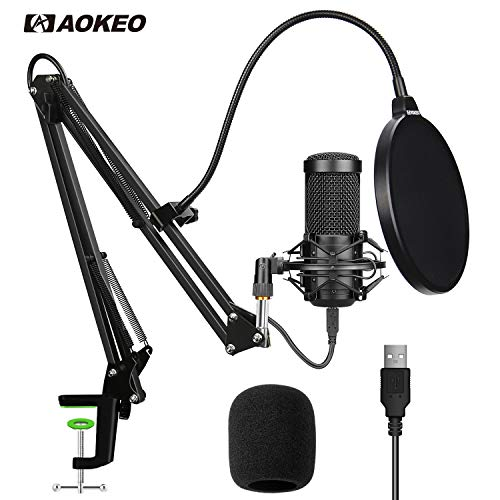 Aokeo AK-60 Professional USB Streaming Podcast PC Microphone With AK-35 Suspension Scissor Arm Stand, Shock Mount, Pop Filter, Foam Cover, for Skype, YouTuber, Karaoke, Gaming, Recording, Discord