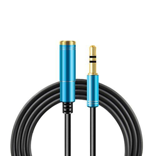 MYhose Cable de extensión 3.5MM Jack M3 Macho a Hembra Cable de extensión de Audio Auriculares Auriculares Cable extendido Alargar la línea para Altavoz Reproductor de computadora Azul 5m