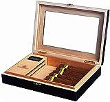 WQQLQX Humidor Cedar Wood Cigar Humidor, Cuadro de Pantalla del cigarro de Escritorio con Ventana de visualización (Color : Black)