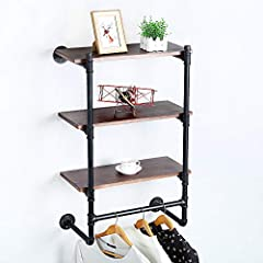 【Distressed Decor】Industrial iron pipe and baking varnish real pine wood. 【Size】Length 24 x Height 33.44 x Depth 9.84 in. 【Easy to Assemble】With the instructions,the assembly requires two people to collaborate. 【Widely Used】Perfect for home, retail, ...