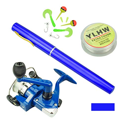 MultiOutools Pen Fishing Pole 38 Inch Mini Pocket Fishing Rod and Reel Combos Travel Fishing Rod Set for Ice Fly Fishing Sea Saltwater Freshwater, Gift for Festivals (Blue)