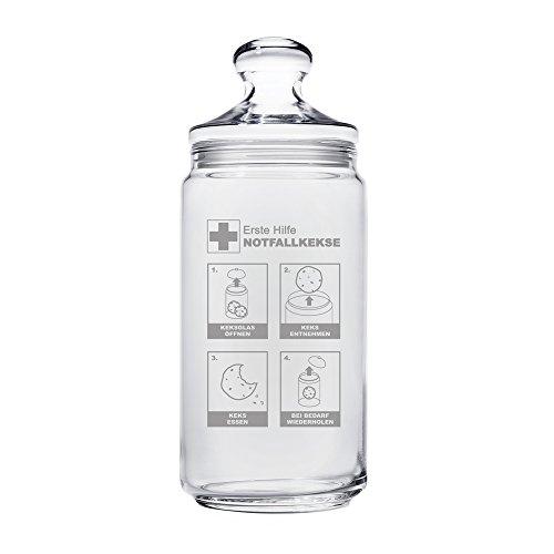Casa Vivente – Keksglas mit Gravur und Deckel – Keksdose aus Glas – Notfallkekse – Vorratsglas – Lustige Geschenkidee zum Geburtstag – Geschenk für Frauen und Männer