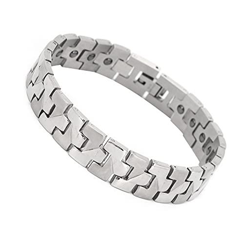 Pulseira de alívio de artrite, pulseira magnética moderna de aço de titânio e pedra biliar preta para fisioterapia de saúde