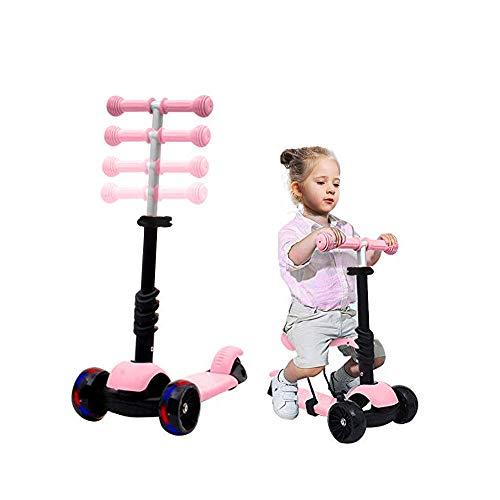 3 in 1 Kinder Roller, Kinder Scooter für Kinder mit klappbarem und abnehmbarem Sitz, Einstellbarer Höhe, 3 LED-Lichträdern, Roller für Kinder von 1 bis 12 Jahren, Jungen und Mädchen. (Rosa)