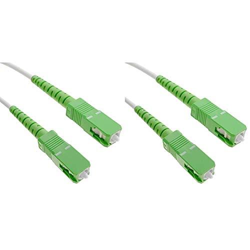 BeMatik FK85-VCES - Cable de fibra óptica SC/APC a SC/APC (monomodo simplex 9/125, de 5 m) + FK84-VCES - Cable de fibra óptica SC/APC a SC/APC (monomodo simplex 9/125, de 3 m) color blanco y verde