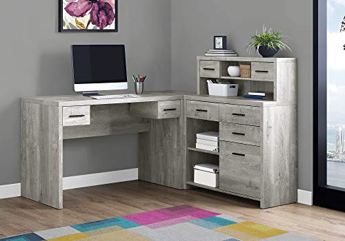 """Monarch Specialties Computer Desk L-Shaped - Left or Right Set- Up - Corner Desk with Hutch 60""""L (Grey Reclaimed Wood)"""