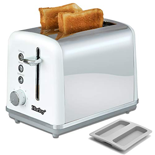 Horloy Stainless Steel Toaster 2 Slice Compact Bread Toaster with Extra Wide Slots, Cancel/Bagel/Defrost/Reheat Functions 6 Bread Shade Settings, 900 W, Removable Crumb Tray, White Silver