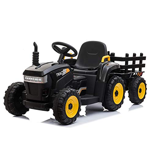 TOBBI 12v Battery-Powered Toy Tractor with Trailer,3-Gear-Shift Ground Loader Ride On with LED Lights and USB&Bluetooth Audio Functions in Black